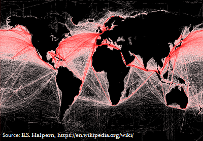 """Merchant Navy: A Global Map of """"How Busy"""" some of the Current Shipping Routes Are"""
