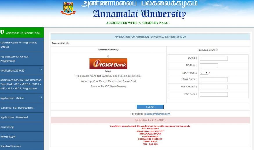 Annamalai University Application 2020: Payment Page to Register for Courses
