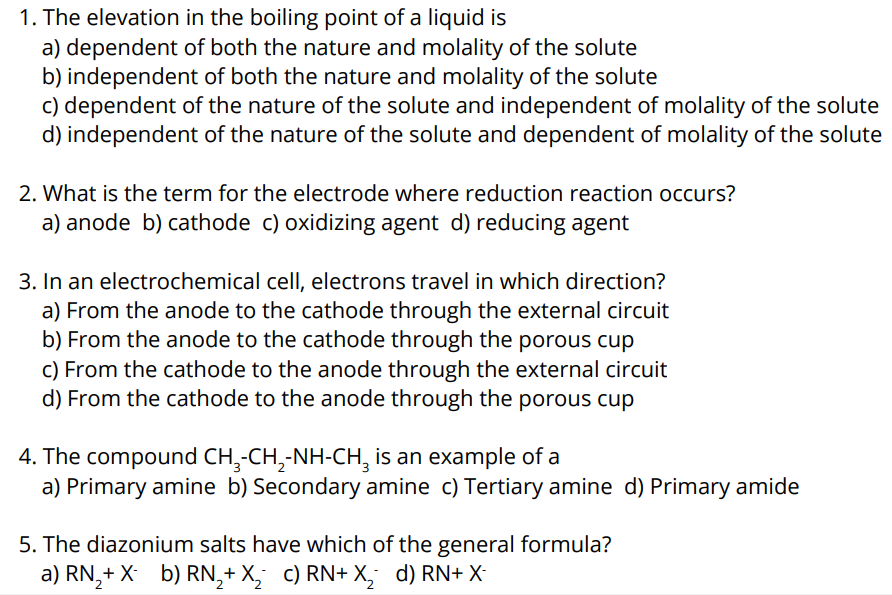 Figure: SRMJEEE exam 2020 Sample Questions for Chemistry