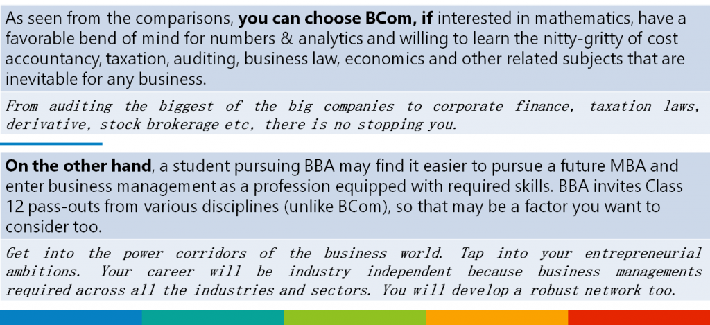 (Table) BBA vs BCom: Best Advice We Really Have Is