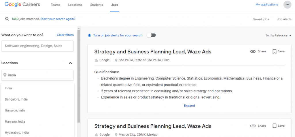(Figure) Job in Google: Step 2 How to Apply for Job in Google Company (Online from India)